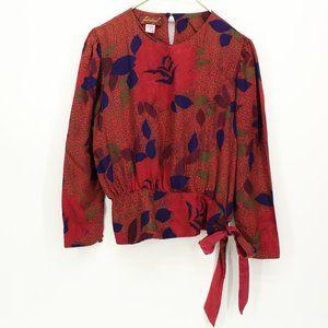 Vintage Fabuleux Silk Floral Design Blouse